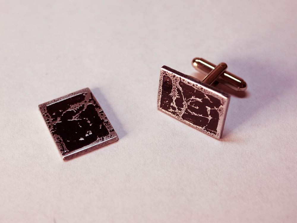 New Cufflinks from Etched Zinc Plates
